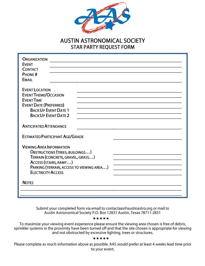 Austin Astronomical Society - Requesting a Star Party on application clip art, application service provider, application to date my son, application trial, application cartoon, application for employment, application template, application meaning in science, application error, application approved, application in spanish, application submitted, application insights, application to join a club, application for rental, application database diagram, application for scholarship sample, application to join motorcycle club, application to rent california, application to be my boyfriend,